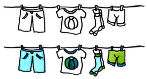 Boys wear. Hand drawn illustrated boys wear (laundry) - outlines and watercolor set royalty free illustration