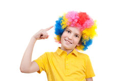 Boys wears multi-coloured wig Royalty Free Stock Photo
