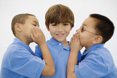Boys Whispering. Portrait of little boys whispering to each other isolated over white background Royalty Free Stock Photography