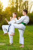 Boys in white kimono during training karate Royalty Free Stock Photography
