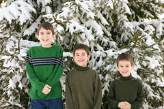 Boys in the Winter Royalty Free Stock Images