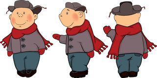 A boys in a winter coat and a cap cartoon Stock Photos