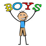 Boys Word Shows Son Youngsters And Kid Royalty Free Stock Images