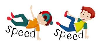 Boys and word speed. Illustration royalty free illustration