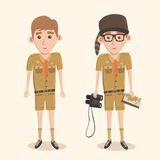 Boyscout with binoculars. Smart boy training to scout. Stock Image