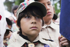 Boyscout face at 2014 Memorial Day Event, Los Angeles National Cemetery, California, USA Royalty Free Stock Photos