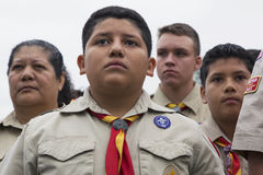 Boyscout faces of all age at 2014 Memorial Day Event, Los Angeles National Cemetery, California, USA Stock Images