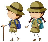 Boyscout and girlscout in brown uniform Stock Photo