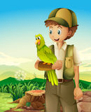 A boyscout holding a parrot. Illustration of a boyscout holding a parrot Stock Images