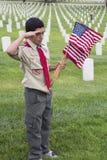 Boyscout salutuje przy jeden 85, 000 USA flaga przy 2014 dni pamięci wydarzeniem, Los Angeles Krajowy cmentarz, Kalifornia, usa obrazy royalty free