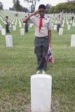 Boyscout som saluterar för en av 85, 000 USA-flaggor på den Memorial Day händelsen 2014, Los Angeles nationell kyrkogård, Kalifor Royaltyfri Bild