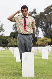 Boyscout som saluterar på en av 85, 000 USA-flaggor på den årliga Memorial Day händelsen, Los Angeles nationell kyrkogård, Kalifo Fotografering för Bildbyråer