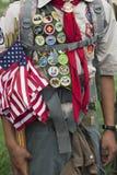 Boyscout zasługi bades i USA flaga przy 2014 dni pamięci wydarzeniem, Los Angeles Krajowy cmentarz, Kalifornia, usa obraz royalty free