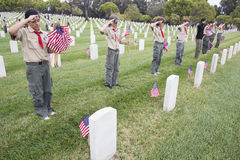 Boyscouts салютуя на одном из 85, 000 флагов на событии 2014 Дней памяти погибших в войнах, кладбище США Лос-Анджелеса национальн Стоковые Изображения