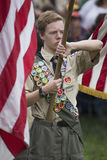 Boyscouts display US Flag at solemn 2014 Memorial Day Event, Los Angeles National Cemetery, California, USA Royalty Free Stock Photography