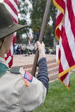 Boyscouts display US Flag at solemn 2014 Memorial Day Event, Los Angeles National Cemetery, California, USA Stock Image