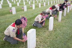 Boyscouts placing one of 85, 000 US Flags at 2014 Memorial Day Event, Los Angeles National Cemetery, California, USA Royalty Free Stock Images