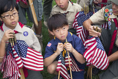 Boyscouts placing 85, 000 US Flags at Annual Memorial Day Event, Los Angeles National Cemetery, California, USA Stock Photography