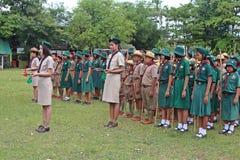 Boyscouts robi aktywności w TAJLANDZKIM BOYSCOUT dniu obraz stock
