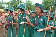 Boyscouts robi aktywności w TAJLANDZKIM BOYSCOUT dniu obrazy stock