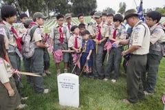 Boyscouts som förlägger 85, 000 USA-flaggor på den årliga Memorial Day händelsen, Los Angeles nationell kyrkogård, Kalifornien, U Arkivbilder
