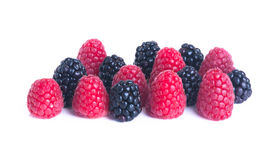 Boysenberries and raspberries on white background Royalty Free Stock Photo