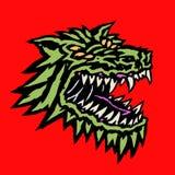 Bozal de un monstruo extranjero malvado del lobo con la boca abierta llena de colmillos Ilustración del vector stock de ilustración