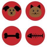 Bozal de un perro y un gato y una invitación Esqueleto del hueso y de los pescados T stock de ilustración
