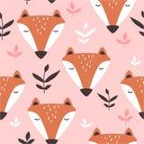 Bozales de los zorros y de las hojas, modelo incons?til lindo colorido libre illustration