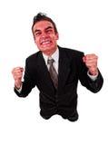Boze bedrijfsmens met rood exploderend gezicht Royalty-vrije Stock Fotografie