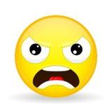 Boze emoji Emotie van woede Kwaad emoticon De stijl van het beeldverhaal Het vectorpictogram van de illustratieglimlach Stock Afbeeldingen
