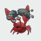 Boze en ontevreden krab gamer vectorillustratie stock illustratie