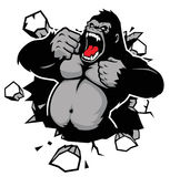 Boze gorilla die de muur breken Stock Foto