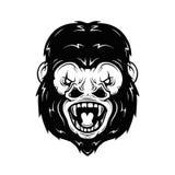 Boze gorilla hoofd vectorillustratie Royalty-vrije Stock Foto's