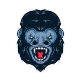 Boze gorilla hoofd vectorillustratie Stock Afbeelding