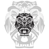 boze gorrilaillustratie in witte en zwarte kleur royalty-vrije illustratie