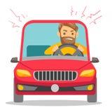 Boze Kaukasische die mens in auto in opstopping wordt geplakt vector illustratie