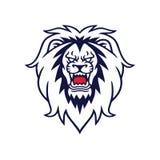 Boze Lion Roaring Vector Logo Mascot-Ontwerpillustratie Stock Afbeelding