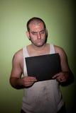 Boze mens in mugshot Royalty-vrije Stock Fotografie