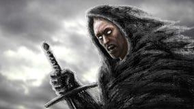 Boze moordenaar met zwaard Genre van fantasie vector illustratie