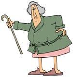 Boze oude vrouw die haar riet schudden stock illustratie