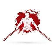 Boze Samoeraien die zich met de grafische vector van het zwaarden vooraanzicht bevinden stock illustratie