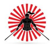 Boze Samoeraien die zich met de grafische vector van het zwaarden vooraanzicht bevinden vector illustratie