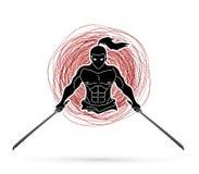 Boze Samoeraien die zich met het beeldverhaal grafische vector van het zwaarden vooraanzicht bevinden stock illustratie