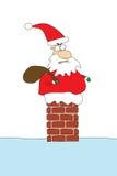 Boze santa die in schoorsteen wordt geplakt royalty-vrije illustratie