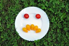Boze smiley van verse tomaten Stock Foto's