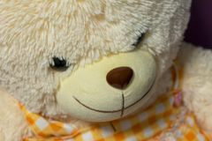 Boze teddybeer met een kwade glimlach stock afbeelding