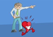 Boze verstoorde mens het richten aan de linkerzijde het gelukkige hart lopen Royalty-vrije Stock Foto