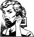 Boze vrouw op telefoon vector illustratie