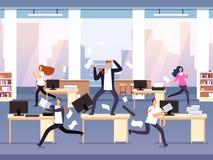 Boze Werkgever Chaos in bureau met werknemers in paniek Zakenman in spanning en uiterste termijn vectorconcept stock illustratie